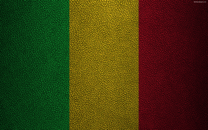 Download Wallpapers Flag Of Mali K Leather Texture Africa - Mali flags
