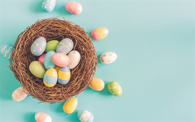 Easter eggs, nest, basket, Easter decoration, spring, decorated eggs