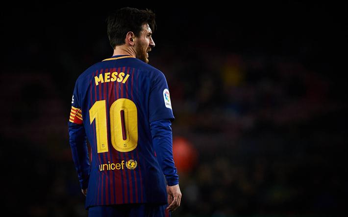 Télécharger fonds d'écran Lionel Messi, à partir de l'arrière, d'un match, le FC Barcelone, La ...