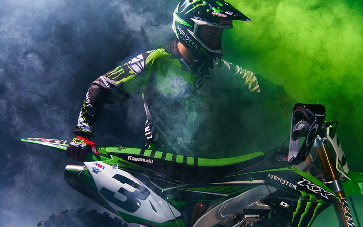 Eli Tomac Rider Kawasaki KX 450 Supercross Motocross Monster Energy