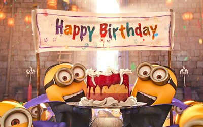 4k, Minions, Birthday Party, Despicable Me, Happy Birthday, Funny Minions