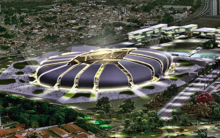 Herunterladen Hintergrundbild Dunen Arena Nacht Fussball
