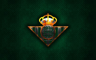 Real Betis, Spanish football club, green metal texture, metal logo, emblem, Seville, Spain, La Liga, creative art, football