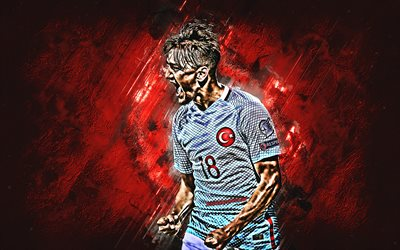 Cengiz Under, Turkey national football team, midfielder, joy, red stone, famous footballers, football, Turkish footballers, grunge, Turkey