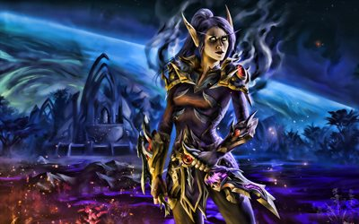 Senneria, WoW characters, darkness, World of Warcraft, warriors, art, WoW