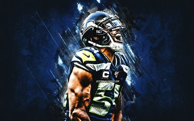 Bobby Wagner, Seattle Seahawks, NFL, portrait, blue stone background, National Football League, USA