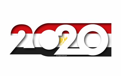 Egypt 2020, Flag of Egypt, white background, Egypt, 3d art, 2020 concepts, Egypt flag, 2020 New Year, 2020 Egypt flag