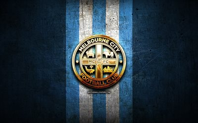 Melbourne City FC, golden logo, A-League, blue metal background, football, Melbourne City, Australian football club, Melbourne City logo, soccer, Australia