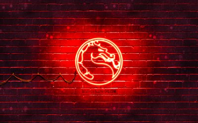 Mortal Kombat red logo, 4k, red brickwall, Mortal Kombat logo, 2020 games, Mortal Kombat neon logo, Mortal Kombat