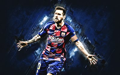 Lionel Messi, FC Barcelona, world football star, argentinian soccer player, portrait, La Liga, Champions League, football, blue stone background, Leo Messi
