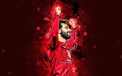 4k, Mohamed Salah, 2020, Liverpool FC, egyptian footballers, goal, LFC, red abstract rays, Salah, Premier League, grunge art, soccer, Mohamed Salah art, Salah Liverpool, Mo Salah, Mohamed Salah 4K