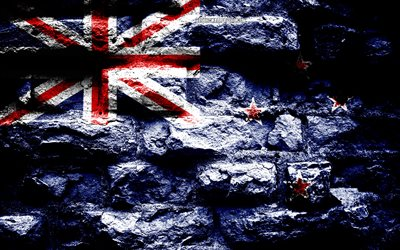 New Zealand flag, grunge brick texture, Flag of New Zealand, flag on brick wall, New Zealand, flags of Oceania countries