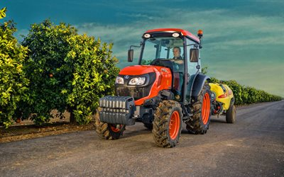 Kubota M5101N, garden pollination, 2020 tractors, agricultural machinery, orange tractor, HDR, harvest, agriculture, Kubota