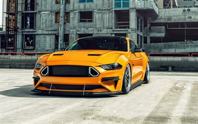 Ford Mustang GT, 2020, 4k, giallo sport coupe tuning Mustang, la nuova Mustang gialla, Americano, sport auto, Ford