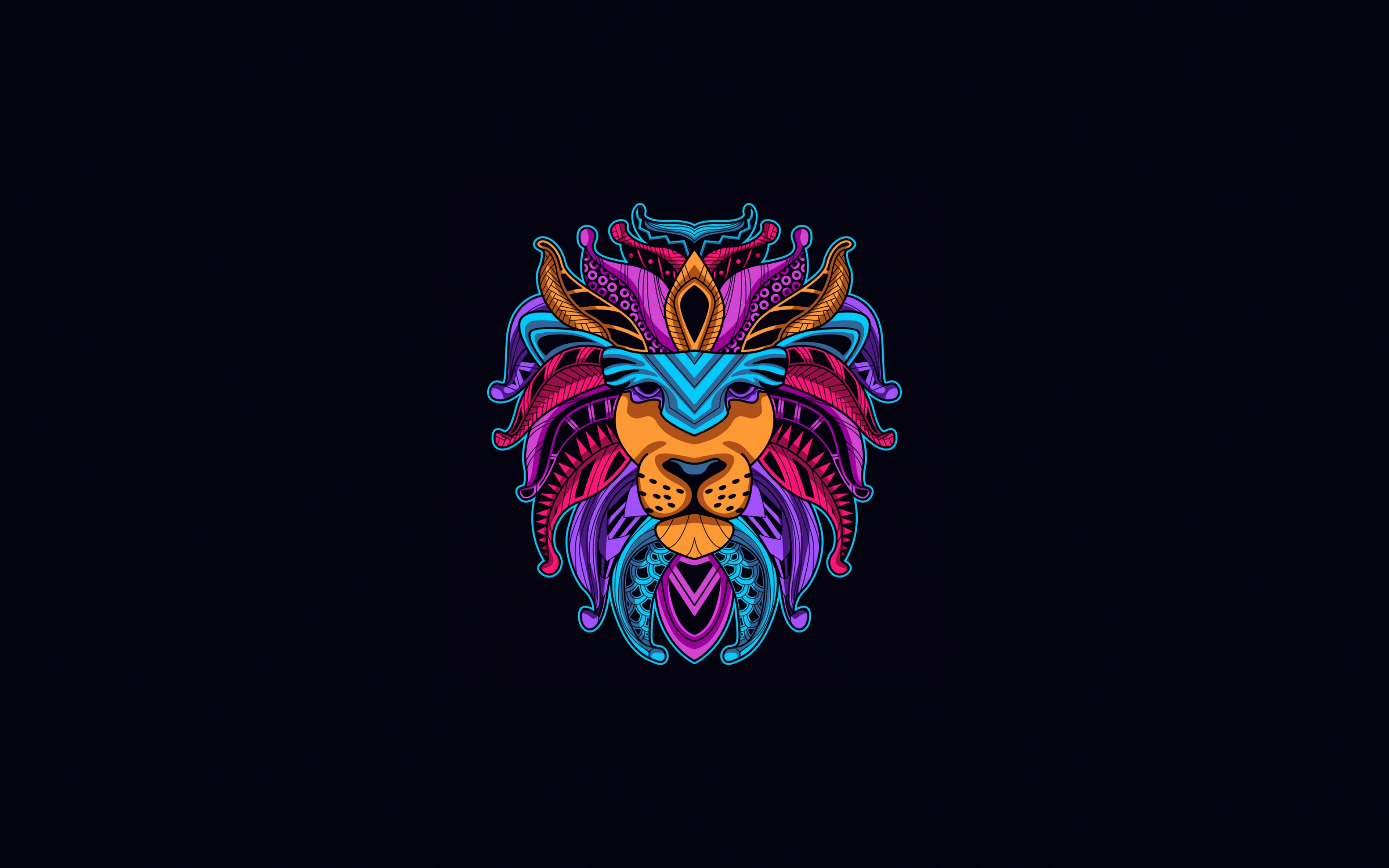abstract lion, 4k, creative, minimal, abstract animals, lion, blue backgrounds