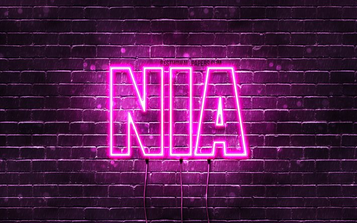 Download Wallpapers Nia 4k Wallpapers With Names Female Names Nia Name Purple Neon Lights Horizontal Text Picture With Nia Name For Desktop Free Pictures For Desktop Free