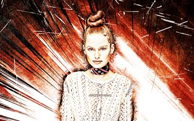 4k, Madelaine Petsch, grunge art, american celebrity, orange abstract rays, Madelaine Grobbelaar Petsch, american actress, superstars, Madelaine Petsch 4K