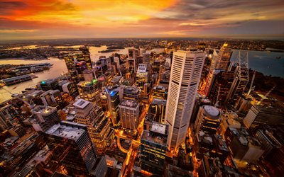 4k, Sydney, sunset, modern buildings, panorama, Australia, Sydney at sunset
