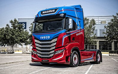 Iveco S-WAY Magirus Concept, 2019, front view, exterior, blue-red S-WAY Magirus, italian trucks, Iveco