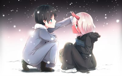 HIRO and Zero Two, snowfall, Darling in the Franxx, Code 002, winter, Darling in the Franxx characters, protagonist, Zero Two Darling in the Franxx, HIRO Darling in the Franxx