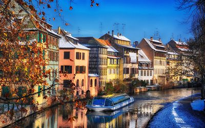 Strasbourg, winter, buildings, canal, boat, Strasbourg in winter, France