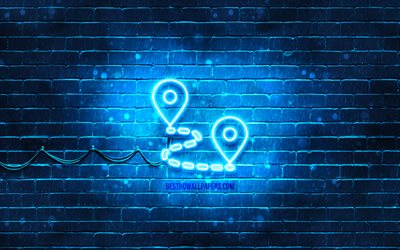 Road journey neon icon, 4k, blue background, neon symbols, travel concepts, Road journey, neon icons, Road journey sign, transport signs, Road journey icon, transport icons