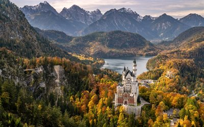 Neuschwanstein Castle, Bavarian Alps, autumn, beautiful castle, landmark, mountain landscape, castles of Germany, Schwangau, Bavaria, Germany