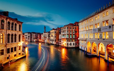 Venice, Grand Canal, evening, sunset, Italy, Attractions