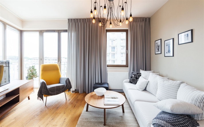 Interior Aus Wohnzimmer, Stilvolles Design, Weißes Sofa, Wohnzimmer, Modernes  Interieur