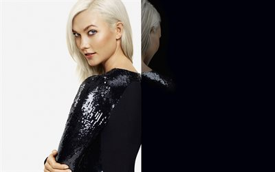 Karlie Kloss, American supermodel, photoshoot, black luxurious evening dress, portrait, blondes, Elisette