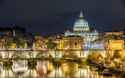 Bridge of the Holy Angel, old bridge, Rome, night, city lights, Italy Attraction, Rome landmarks
