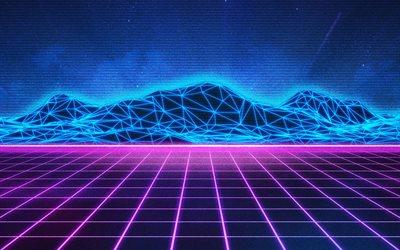Download Wallpapers Neon Mountain Landscape Neon Light