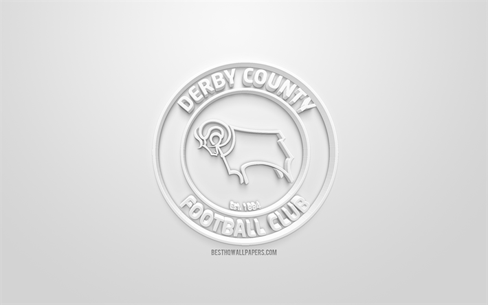 Download Wallpapers Derby County FC, Creative 3D Logo