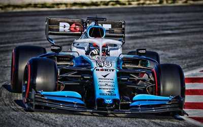 4k, George Russell, close-up, Williams FW42, pista de carreras, 2019 coches de F1, Formula 1, Williams-Mercedes, George Russell en la pista, ROKiT Williams Racing, F1 2019, nueva FW42, F1, Mercedes M10 EQ Poder, los coches de F1