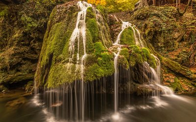 Bigar Cascade Falls, waterfall, forest, green moss, beautiful waterfalls, Romania