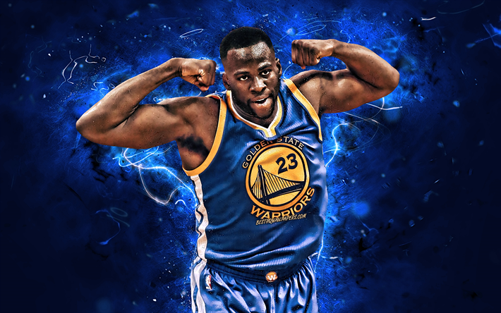 Draymond Green, Golden State Warriors NBA, gioia, stelle di basket, Draymond Jamal Verde Sr, basket, close-up, luci al neon, creativo, USA