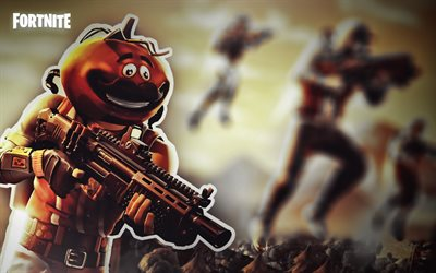 Tomatohead, fan art, Fortnite Battle Royale, 2019 games, Fortnite, cyber warriors, Fortnite Tomatohead
