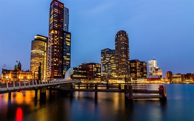 Rotterdam, evening, modern buildings, cityscape, Netherlands