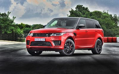 4k, Range Rover Sport, tuning, L494, 2019 auto, Land Rover, Suv, rosso Range Rover Sport, le auto inglesi, Range Rover