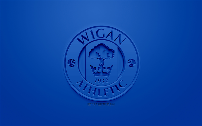 Download Wallpapers Wigan Athletic FC, Creative 3D Logo