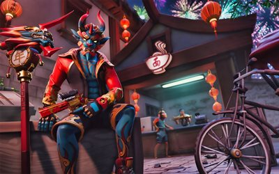 Shogun, fan art, Fortnite Battle Royale, 2019 games, Fortnite, cyber warriors, Fortnite Shogun