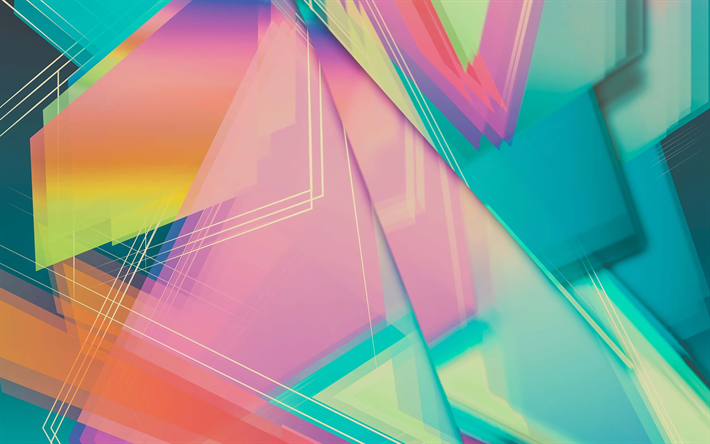 geometric shapes, triangles, colorful background, geometry, triangles texture, colorful abstract background