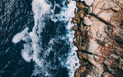 rocky coast, aero view, ocean, waves, stones, rocks, aerial view