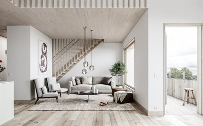 stylish interior of the living room, white walls, light wooden ceiling, Scandinavian style, modern interior design