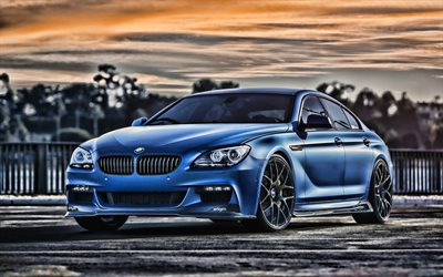 4k, BMW 6-Series Gran Coupe, F13, tuning, sunset, BMW 6, HDR, german cars, BMW