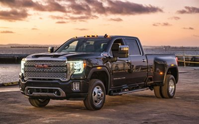 GMC Sierra 3500 HD Denali, headlights, 2019 cars, black pickup, SUVs, 2019 GMC Sierra 3500 HD Denali, american cars, GMC