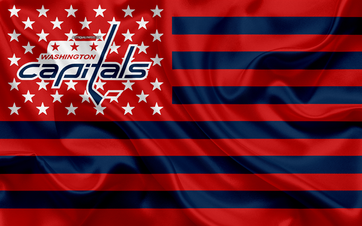 Des Capitals de Washington, American hockey club, American creative drapeau rouge drapeau bleu, de la LNH, Washington, états-unis, le logo, l'emblème, le drapeau de soie, la Ligue Nationale de Hockey, de hockey