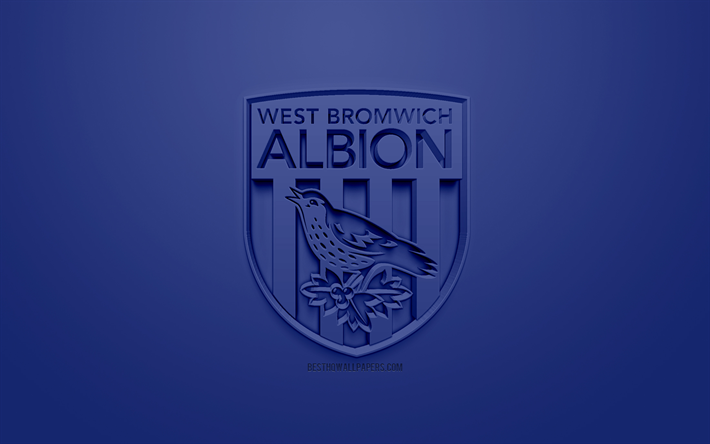 Download Wallpapers West Bromwich Albion Fc Creative 3d Logo Blue Background 3d Emblem English Football Club Efl Championship West Bromwich England United Kingdom English Football League Championship 3d Art Football 3d Logo