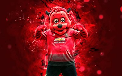 Fred the Red, mascot, Red Devil, Manchester United FC, abstract art, Premier League, english football club, Biriba mascot, creative, Man United, official mascot, neon lights, Manchester United mascot