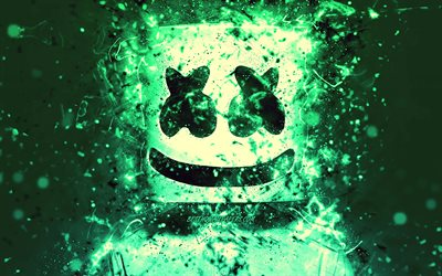4k, Christopher Comstock, turquoise neon, fan art, creative, DJ Marshmello, american DJ, Marshmello 4k, Marshmello DJ, superstars, Marshmello, DJs
